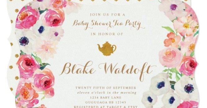 Fl Tea Party Baby Shower Invitation
