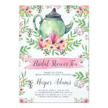 Floral Watercolor Teapot Bridal Shower Tea Invitation