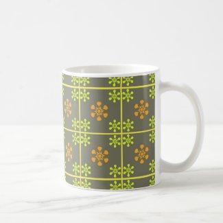 Florals on grey coffee mugs