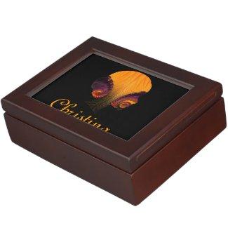 Florescent Womans Silhouette Fractal Keepsake Box