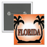 Florida Airbrushed Look Orange Sunset Palm Trees buttons
