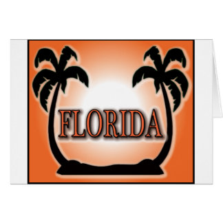 Florida Airbrushed Look Orange Sunset Palm Trees Greeting Card
