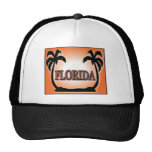 Florida Airbrushed Look Orange Sunset Palm Trees hats