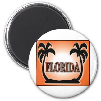 Florida Airbrushed Look Orange Sunset Palm Trees Fridge Magnet