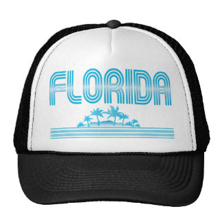 Florida Neon Palm Trees AQUA Trucker Hats