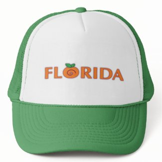 FLORIDA Orange Text Trucker Hats