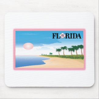 Florida Pink Hibiscus Postcard Beach Scene Mousepads