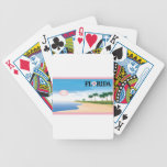 Florida Pink Hibiscus Postcard Beach Scene playing cards