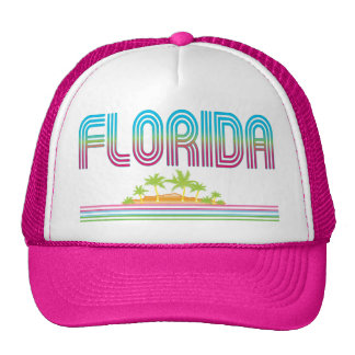 FLORIDA Retro Neon Palm Trees Mesh Hat