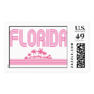 Florida Retro Neon Palm Trees Pink Postage Stamp