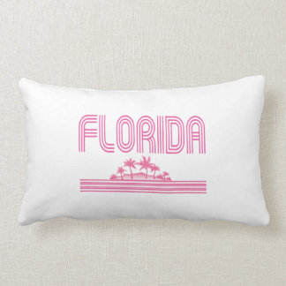 Florida Retro Neon Palm Trees Pink Throw Pillow