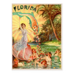 Florida water nymphs vintage tourism illustration postcard