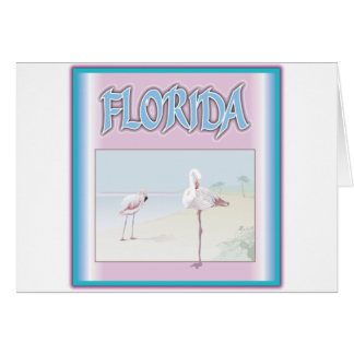 Florida White Flamingos Greeting Cards