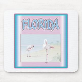 Florida White Flamingos Mouse Pads