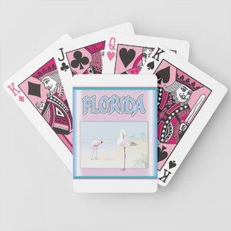 Florida White Flamingos Playing Cards