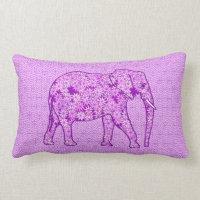 Flower elephant - amethyst purple lumbar pillow