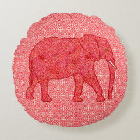 Flower elephant - deep red and coral round pillow