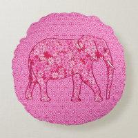 Flower elephant - fuchsia pink round pillow