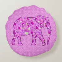 Flower elephant - orchid and magenta round pillow
