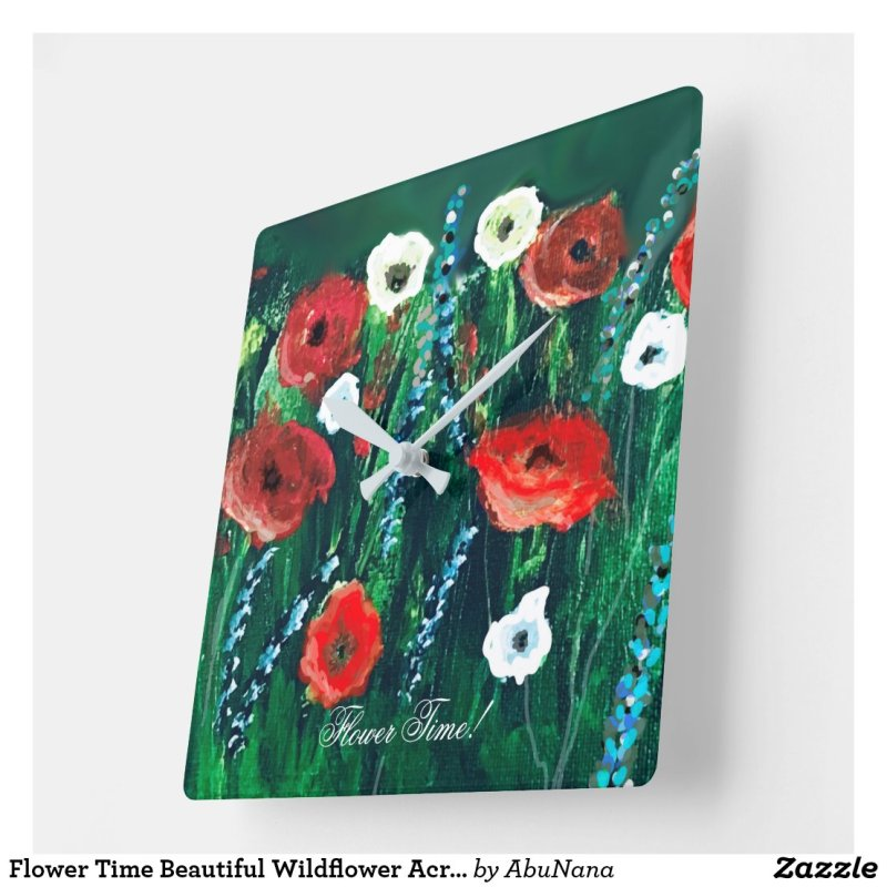 Flower Time Beautiful Wildflower Acrylic Painting Square Wall Clock