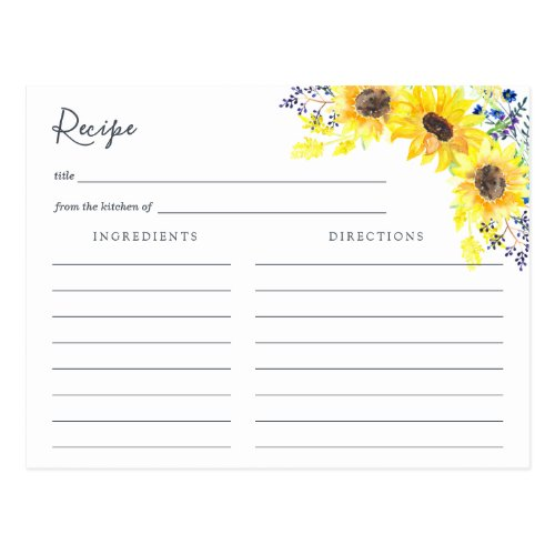 Flowerfields Recipe Card