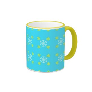 Flowers on blue mug