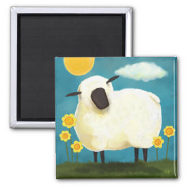 Fluffy Sheep & Yellow Flowers Art Magnet