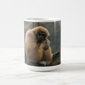 Fluffy white-handed lar gibbon mug