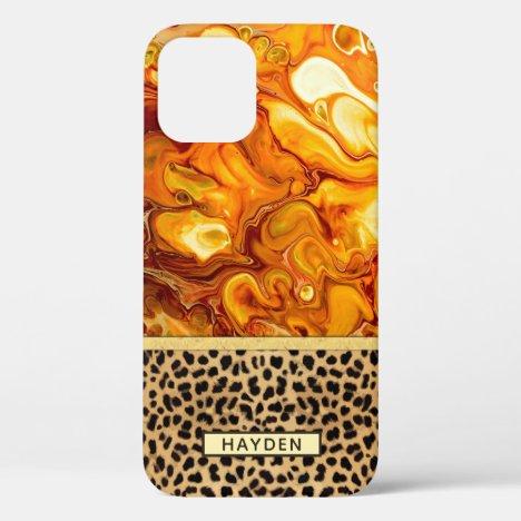 Fluid Art Pour Personalized Leopard Spot Print iPhone 12 Case