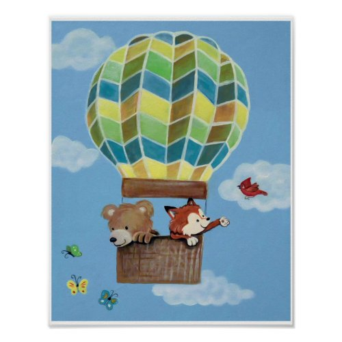 Fly Away Forest Animals - Bear and Fox Nursey Art Poster