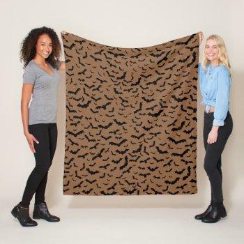 Flying Black Bats Brown Fleece Blanket Bat Lovers Pattern