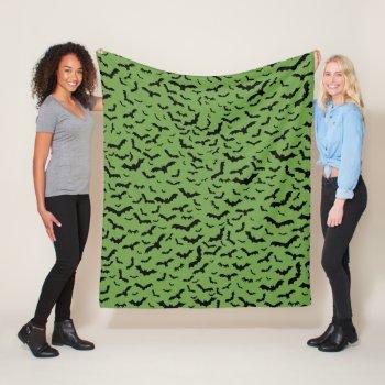 Bat Lovers Pattern Flying Black Bats Green Fleece Blanket