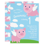 Flying Pigs 1st Birthday Cute Invitations