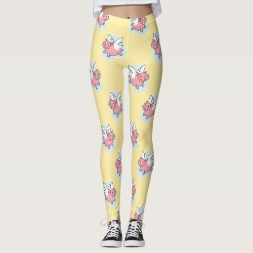Flying Pigs L Chinese New Year 2019 yellow Girl Leggings