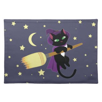 Flying Witch Cat Cloth Place Mat