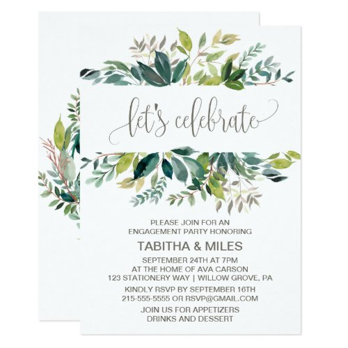 Foliage Let's Celebrate Engagement Party Invitation