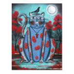 FOLK ART Blue Cat BY LORI EVERETT postcard