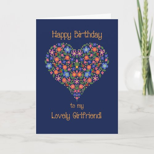 Folk Art Floral Heart Birthday Card for Girlfriend