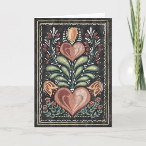 Folk Art flowers and hearts Card