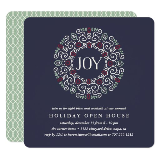 Folk Art Joy | Holiday Open House Party Invitation