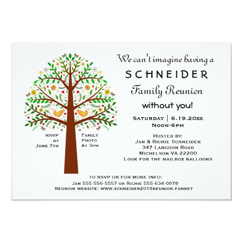 Folk Art Tree Family Reunion, Party or Event Card