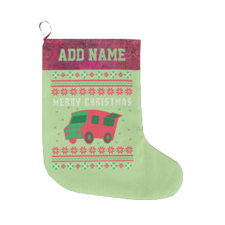 Food Truck Ugly Christmas Sweater Large Christmas Stocking