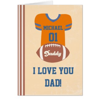 Football Jersey Card, Father's Day Birthday