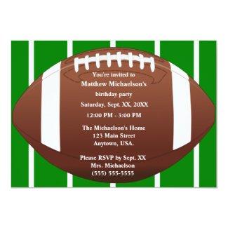 Football With Green Field Birthday Party Invitation