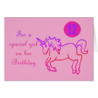 For a special girl on her Birthday Unicorn 12th Card