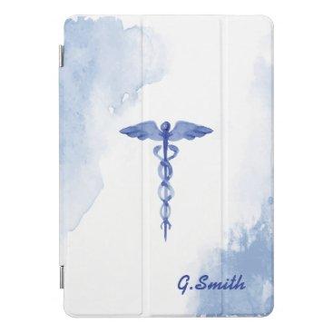 For Doctors & Nurses. Medical Caduceus Watercolor. iPad Pro Cover