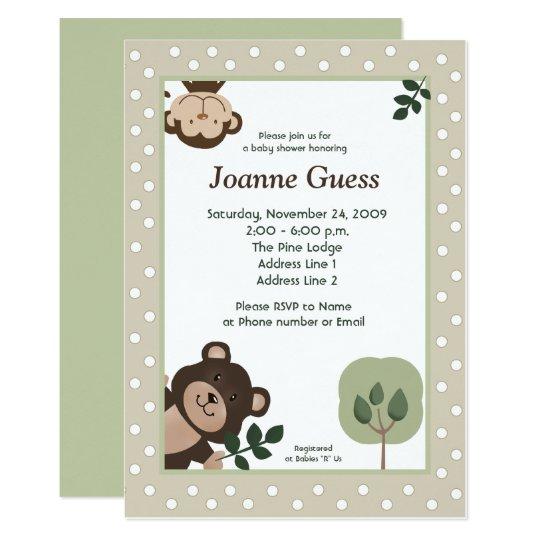 Forest Friends Bear Monkey Baby Shower Invitation