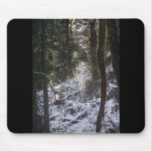 Forest Sun Rays in the Snow #24 mousepad