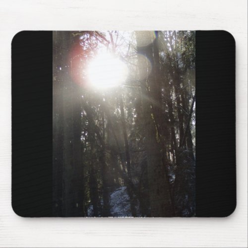 Forest Sun Rays in the Snow #50 mousepad