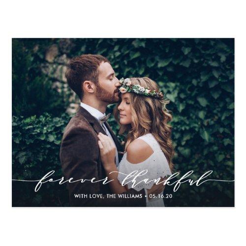 Forever Thankful | Thank You Wedding Photo Postcard